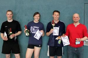 Die Sieger Mark (3. Platz), Kristin (2. Platz), Kilian (1. Platz) und Raphael (Sieger der Herzen)